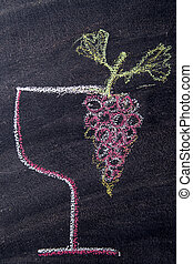 Glass with red grapes - Graphical representation of a glass...