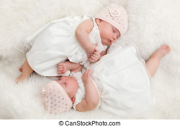 Cute twin sisters, newborn babies lying together in white...