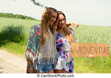 female twins vacation concept independent travel - female...