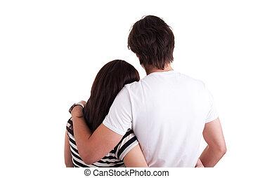Amorous couple hugging, isolated on white background Studio...
