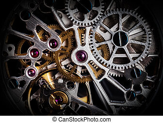 Mechanism, clockwork of a watch with jewels, close-up...
