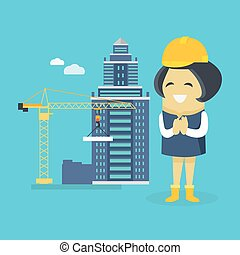 Female Engineer and Building Construction - Female engineer...