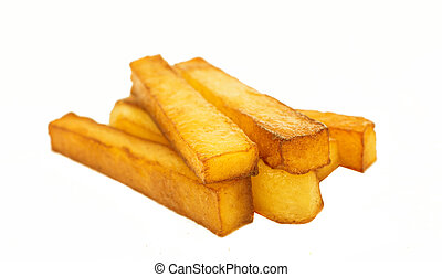 fried potatoes on a white background