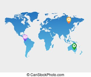 blue vector world map with icons