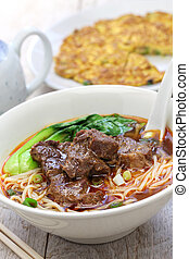Taiwanese cuisine - beef noodle soup,dried radish omelet,...