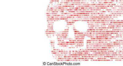Concept of computer security The skull of the hexadecimal...