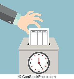 Hand putting paper card in time recorder machine. Flat style vector for time stamping concept.