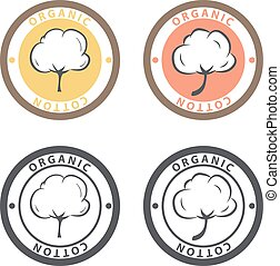 Cotton logo set. Cotton labels, stickers and emblems.