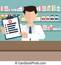 Modern flat vector illustration of a male pharmacist showing...