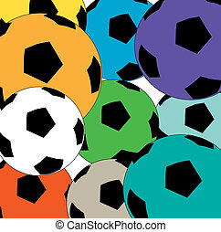 Colourful cluster of soccer balls - A colourful background...