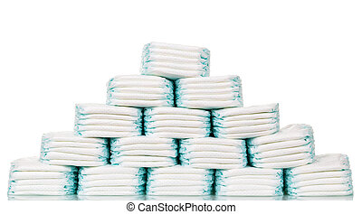 Stacks of diapers stacked in staggered rows isolated on...