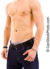 male torso - Muscular young male torso isolated on white...