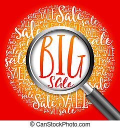BIG SALE word cloud with magnifying glass, business concept