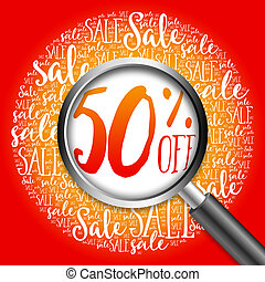 50% OFF sale word cloud with magnifying glass, business...