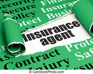 Insurance concept: black text Insurance Agent under the...