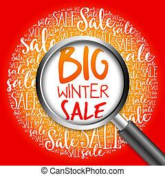 grande, palabra, invierno, nube, venta