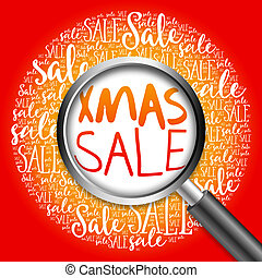 XMAS SALE word cloud with magnifying glass, business concept