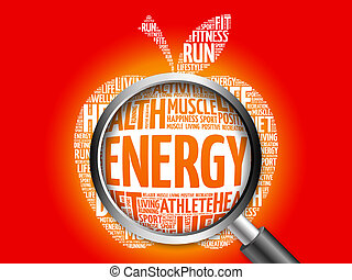 Energy apple word cloud with magnifying glass, health...
