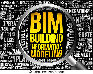 BIM - building information modeling word cloud with...