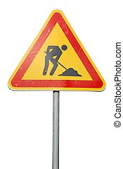 Construction road sign - temporary construction sign...