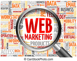 Web Marketing word cloud with magnifying glass, business...