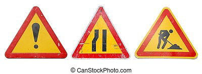 Construction signs - three temporary construction signs...