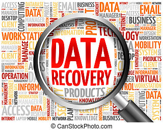 Data Recovery word cloud with magnifying glass, business...