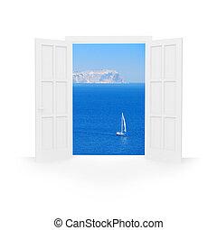 Open door. - Isolated open double door to blue sea with...