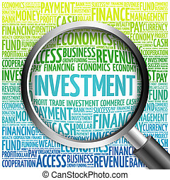 INVESTMENT word cloud with magnifying glass, business...