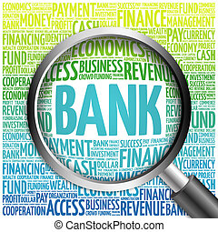 BANK word cloud with magnifying glass, business concept