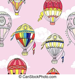 Seamless pattern with clouds and hot air ballons