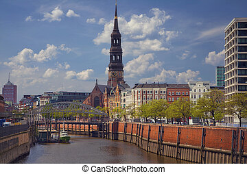 Hamburg. - Image of Hamburg, Germany during spring day.