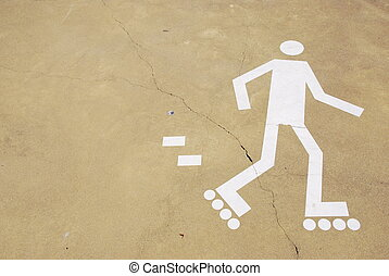 Rollerblading sign - white rollerblading sign on a urban...