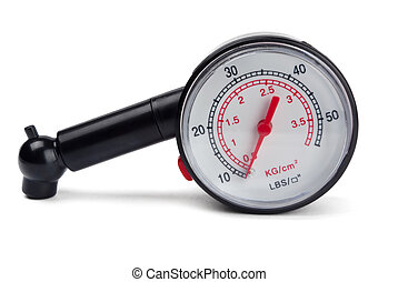 Tyre pressure gauge - Black tyre pressure gauge isolated on...
