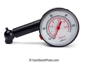 Neumático, presión, calibrador