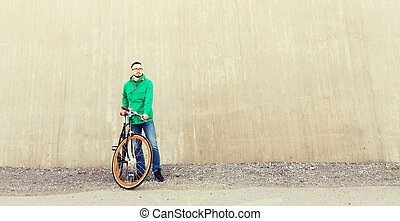 happy young hipster man with fixed gear bike - people,...