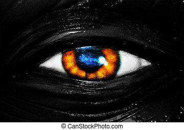 Elefants eye - Photo of brown and blue eye of elefant
