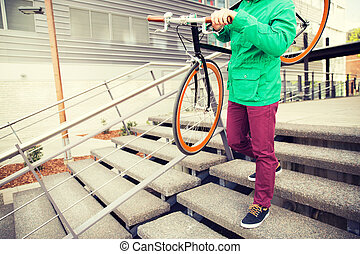 man with fixed gear bike going downstairs - people, style,...