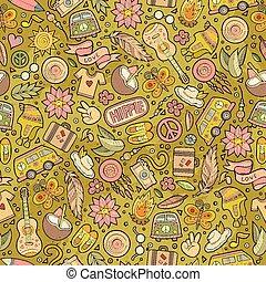 Cartoon hippie seamless pattern - Cartoon hand-drawn hippie...