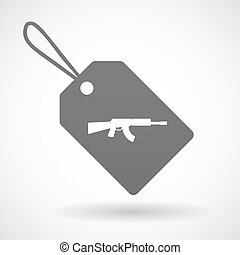 Isolated shopping label icon with a machine gun sign -...