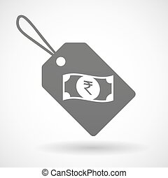 Isolated shopping label icon with a rupee bank note icon -...