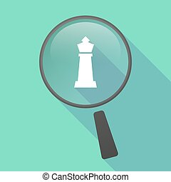 Long shadow magnifier vector icon with a  king   chess figure