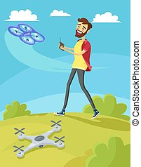 Man Controls the Drone on Lawn - Man controls drone on lawn....
