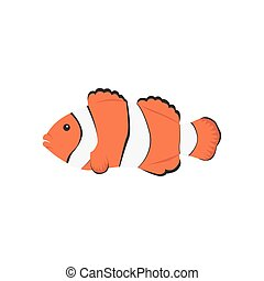 Clown Orange Fish - Clown fish cartoon Tropical sea life...