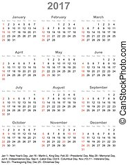 Calendar 2017 USA starts sunday - Simple calendar 2017...