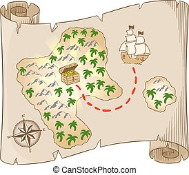 treasure map - vector illustration of an old treasure map