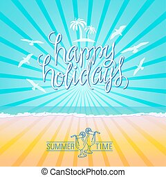 Happy Holidays Abstract Background. Hand Lettered Text with...