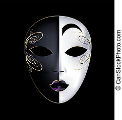 black-white mask with purple - dark background and the large...