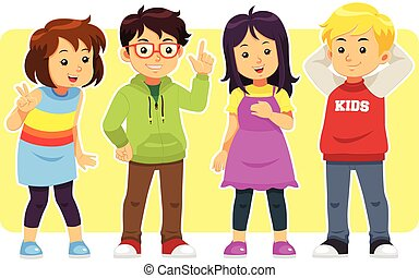 Casual Kids - A group of children boys and girls with casual...