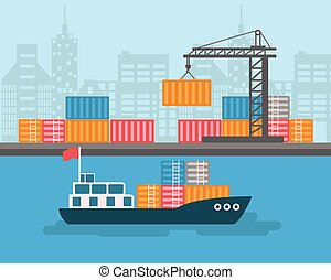 Creative vector detailed container ship at freight port...